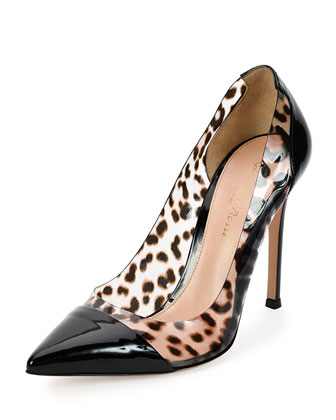 Patent & Leopard-PVC Illusion Pump, Black