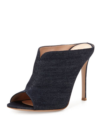 Denim Peep-Toe Mule Sandal, Denim