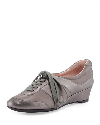 Parisa Metallic Lace-Up Sneaker, Charcoal/Pewter