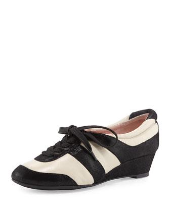 Parisa Metallic Lace-Up Sneaker, Bone/Black