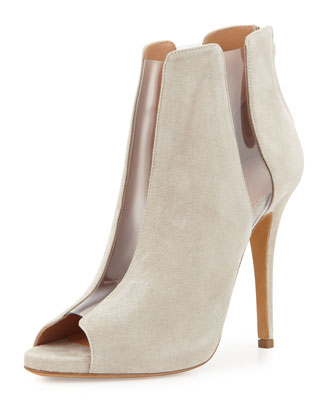 PVC-Panel Peep-Toe Suede Bootie, Taupe