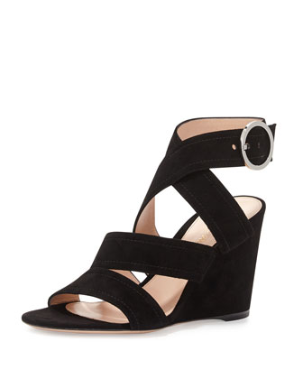 Rylee Suede 85mm Wedge Sandal, Black