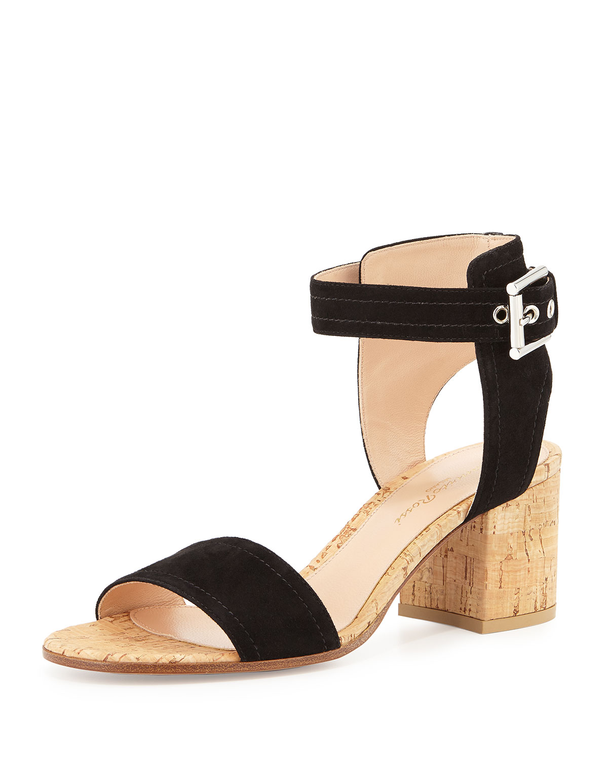Suede Ankle-Wrap Sandal, Black, Size: 35.0B/5.0B - Gianvito Rossi