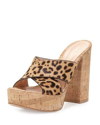 Calf-Hair Crisscross Platform Sandal, Leopard