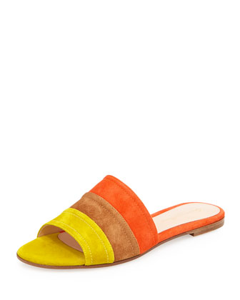 Colorblock Suede Sandal Slide, Mustard/Luggage