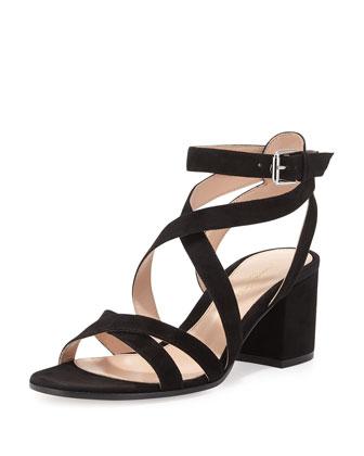 Suede Crisscross Block-Heel Sandal, Black