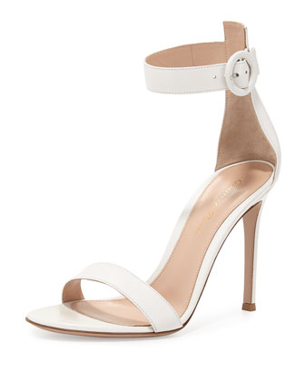 Leather Ankle-Wrap Sandal, Off White