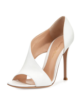 Leather Open-Side d'Orsay Pump, White
