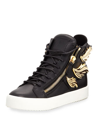 Flame Leather High-Top Sneaker, Nero