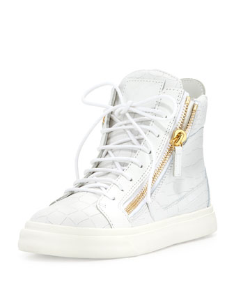 Crocodile-Embossed High-Top Sneaker, Bianco