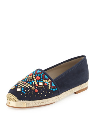 Beaded Suede Espadrille Flat, Navy