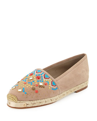 Beaded Suede Espadrille Flat, Sand