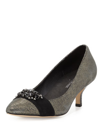 Gia Jeweled Metallic Pump, Black/Pewter