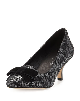 Gretel Suede-Bow Pump, Pewter