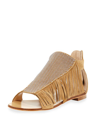 Studded Fringe Flat Sandal, Falasco