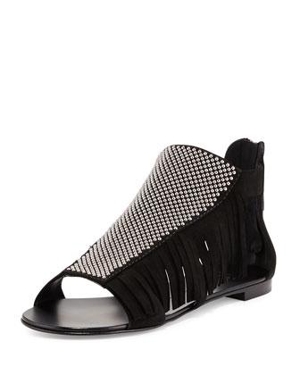 Studded Fringe Flat Sandal, Nero