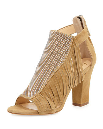 Studded Fringe Mid-Heel Sandal, Falasco