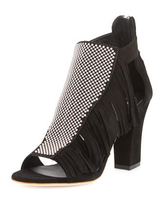 Studded Fringe Mid-Heel Sandal, Nero