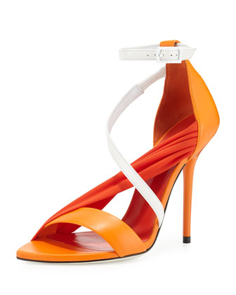 Multi-Strap High-Heel Sandal, Orange/White