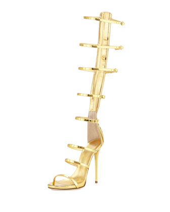 Metallic Gladiator High-Heel Sandal, Oro