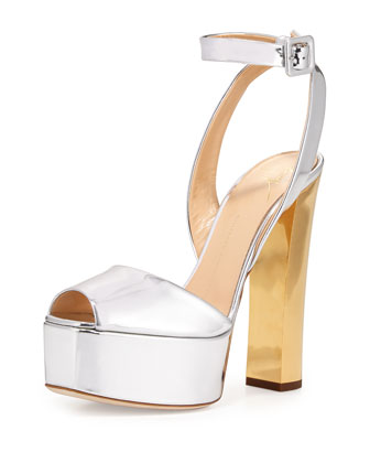 Metallic Leather High-Heel Sandal, Argent