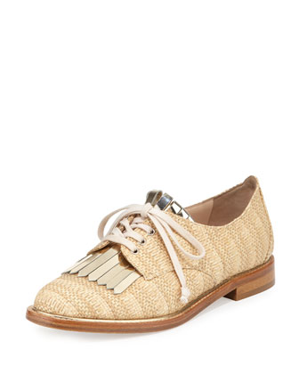 Adelaide Woven Raffia Oxford, Natural/Platino