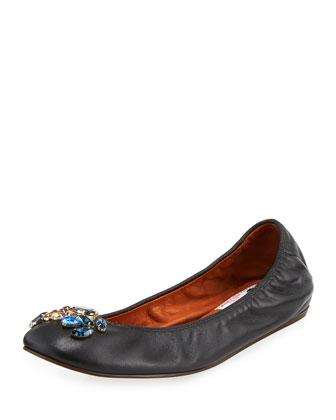 Crystal-Embellished Ballerina Flat, Black