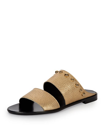Studded Leather Two-Band Mule, Gold