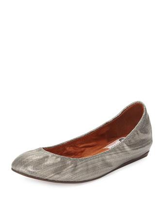 Metallic Leather Ballerina Flat, Aged Silver