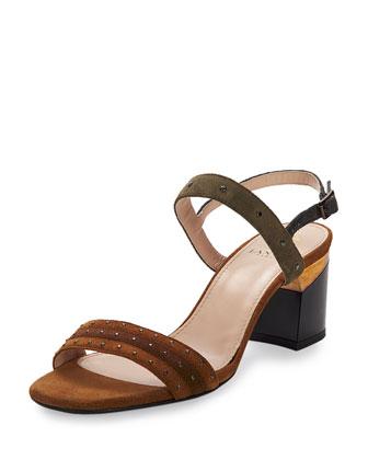 Studded Suede City Sandal, Camel