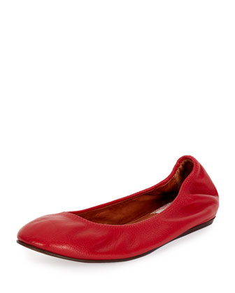Classic Leather Ballerina Flat, Poppy Red