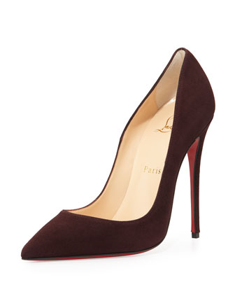 So Kate Suede 120mm Red Sole Pump, Burgundy