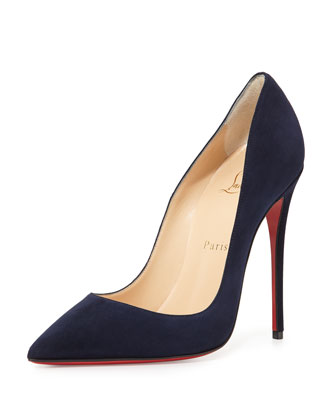 So Kate Suede 120mm Red Sole Pump, Navy