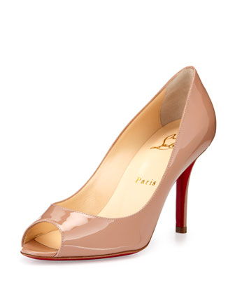 Youyou Patent 85mm Red Sole Pump, Nude