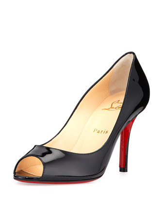 Youyou Patent 85mm Red Sole Pump, Black
