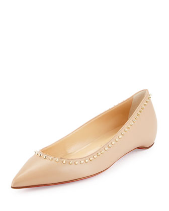 Anjalina Studded Red Sole Skimmer, Nude