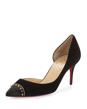 Culturella Half-d'Orsay 70mm Red Sole Pump, Black