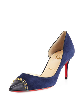 Culturella Half-d'Orsay 70mm Red Sole Pump, Navy