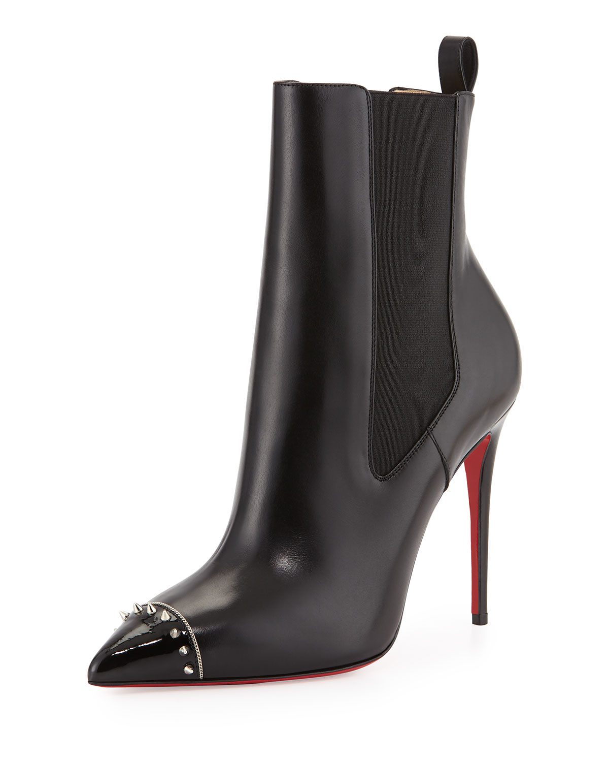 Banjo Spiked Cap-Toe Red Sole Bootie, Black, Women's, Size: 10 1/2B - Christian Louboutin