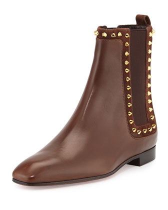 Spike Side-Gore Flat Leather Bootie, Brown