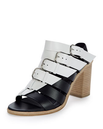 Bicolor Belted Leather Mule Sandal, Black/White