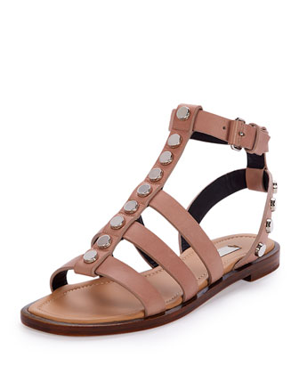 Studded Leather Gladiator Sandal, Beige Sienna
