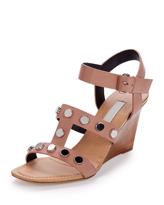 New Stud Stack-Wedge Sandal, Beige