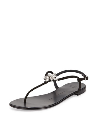 Nuvorock Crystal-Flower Sandal, Black