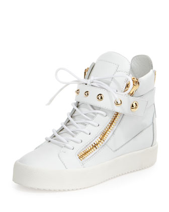 Lamaylorenz Leather High-Top Sneaker, White