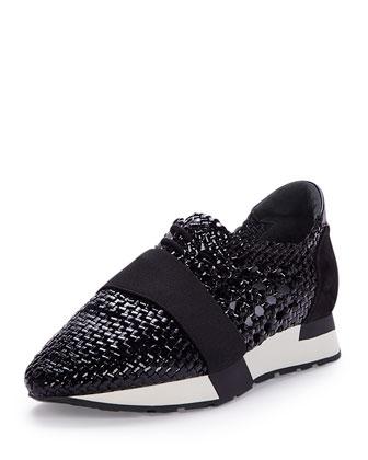 Woven Leather Sneaker, Black (Noir)