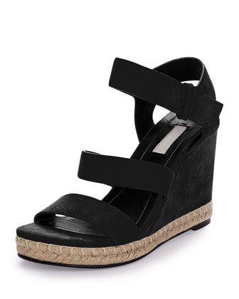 Three-Strap Suede Wedge Sandal, Black (Noir)