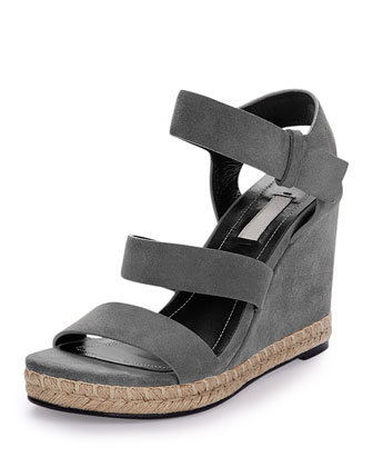 Three-Strap Suede Wedge Sandal, Gray