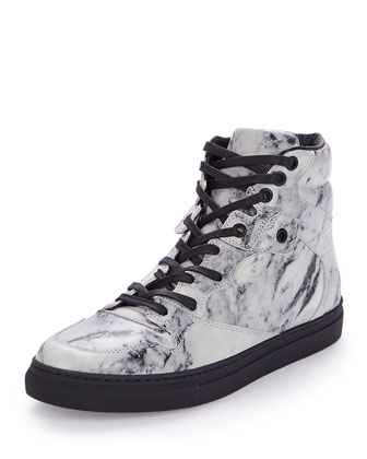 Marbled Leather High-Top Sneaker