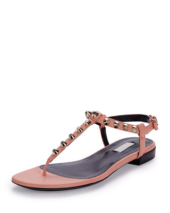 Studded Leather Thong Sandal, Rose
